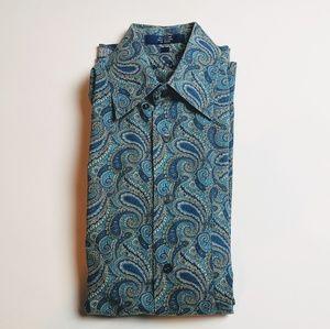 Alan Flusser Blue Paisley Floral Medium Button Up